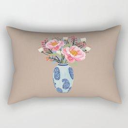 Vase illustration, flower, floral, blossom print Rectangular Pillow