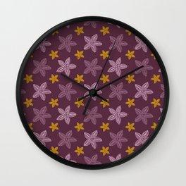 Retro Purple Polynesian Floral Pattern Wall Clock