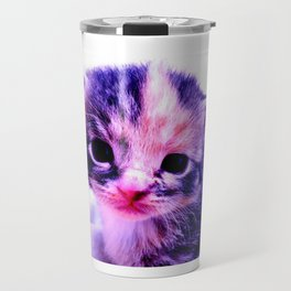 Blue Pink Cute Little Cat Travel Mug