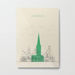 Colorful Skylines: Aarhus, Denmark Metal Print