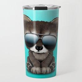 Cool Baby Raccoon Wearing Sunglasses Travel Mug