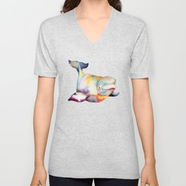 Baby Beluga! Watercolor Whales Unisex V-Neck