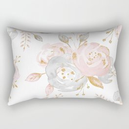 Roses Gold Glitter Pink by Nature Magick Rectangular Pillow