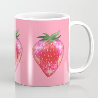 strawberry Mugs featuring Strawberry by Ornaart