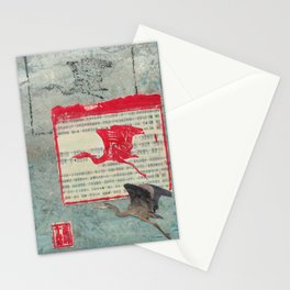 Blue Heron Collage Stationery Cards