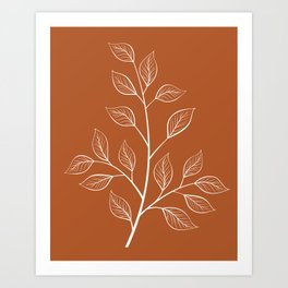 Delicate White Leaves and Branch on a Rust Orange Background Art Print