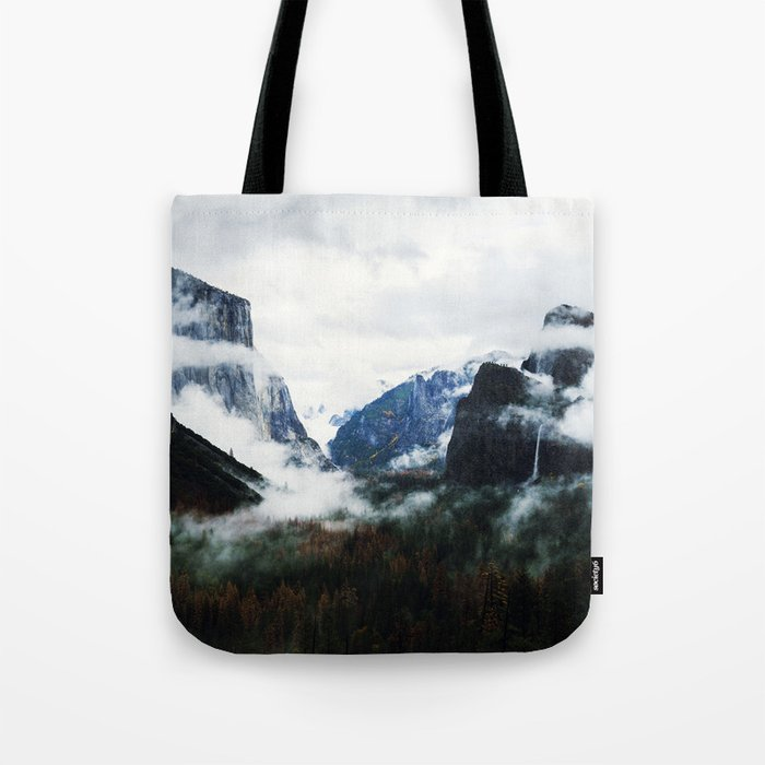 Cloudy Forest Great Outdoors Mountains Photography Tote Bag