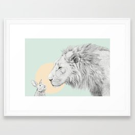 Lion and Bunny Framed Art Print
