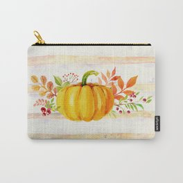 Pumpkin in Watercolor with Striped Background Carry-All Pouch
