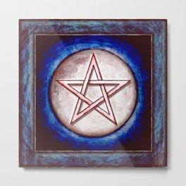 Moon Pentagram - Shining Red Metal Print
