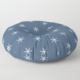 Falling Snow Flakes in the Night Sky Floor Pillow
