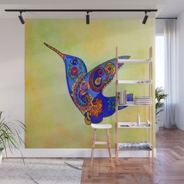 humming bird in color with green-yellow back ground Wall Mural