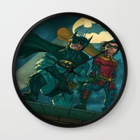 justice league Wall Clocks featuring bat man the watch men justice league man of steel by Brian Hollins art