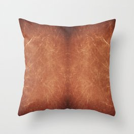 Dark brown scratched texture abstract Throw Pillow