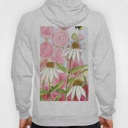 Pink Hollyhock and White Coneflower Garden Flowers Hoody