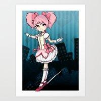 madoka Art Prints featuring Madoka by Samrri