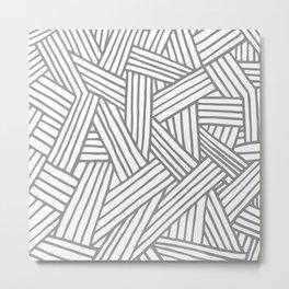 Inter Lines Gray Metal Print