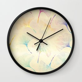 Ginkgo Leaves in Pastel Colors Wall Clock