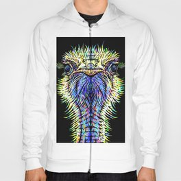 OSTRICH watercolor and ink portrait Hoody