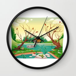 Pond and animals.  Wall Clock