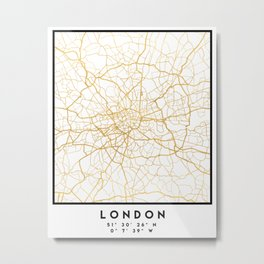 LONDON ENGLAND CITY STREET MAP ART Metal Print