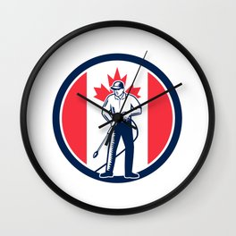 Canada Pressure Washing Flag Circle Retro Wall Clock