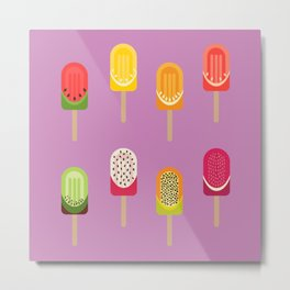 Fruit popsicles - pink version Metal Print