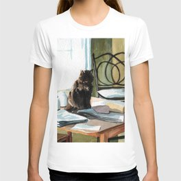 Cat on a Table With Light Coming Through a Window T-shirt