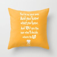 dr seuss Throw Pillows featuring dr seuss: you're on your way by studiomarshallarts