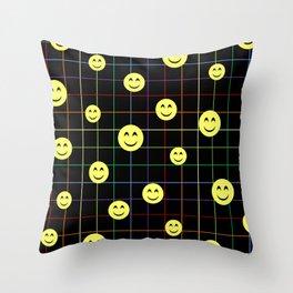 Colorful Smiley Emoji 4 - black Throw Pillow