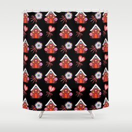 gingerbread houses, candy lollipops. Retro vintage cute Christmas pattern Shower Curtain