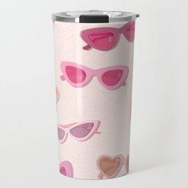 Cute Pink Fifties Sunglassses Pattern on a blush background Travel Mug