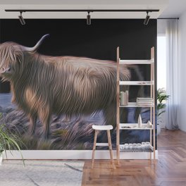Hairy Scottish Highland cow Wall Mural