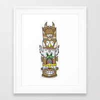 totem Framed Art Prints featuring totem by ybalasiano