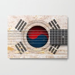 Old Vintage Acoustic Guitar with South Korean Flag Metal Print