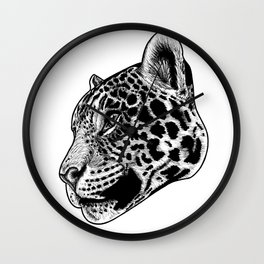 Jaguar - ink illustration Wall Clock
