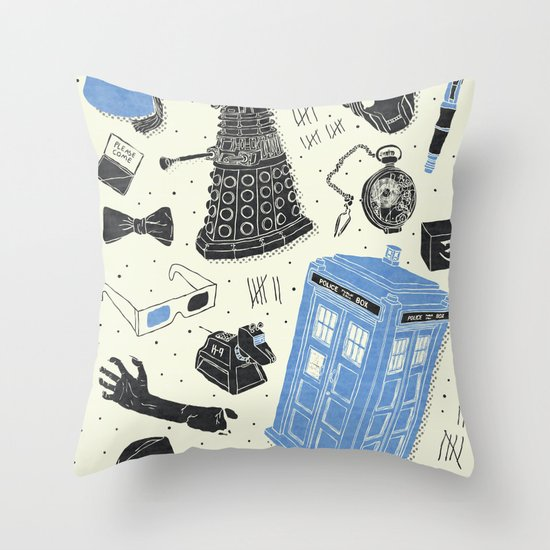 Artifacts: Doctor Who Throw Pillow