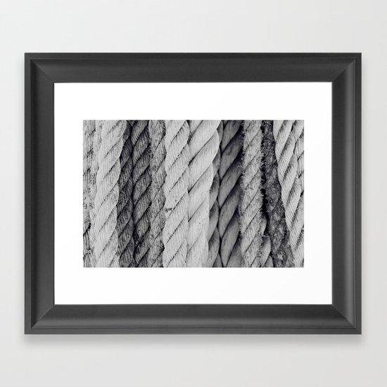 Ropes Black and White Nautical Framed Art Print