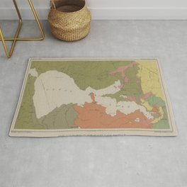 Old Clear Lake Geology Map (1887) Vintage Bass Capital of the West Geological Atlas Rug