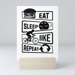 Eat Sleep Bike Repeat - Bicycle Racing Cycling Mini Art Print