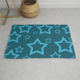 Stars turquoise color design Rug