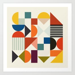 mid century retro shapes geometric Art Print