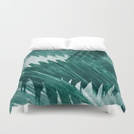 Turquoise Tropical Leaf print Duvet Cover
