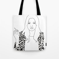 kate moss Tote Bags featuring Kate Moss by Whiteland