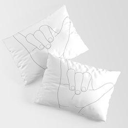 Minimal Line Art Shaka Hand Gesture Pillow Sham