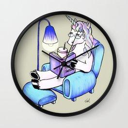 reading unicorn Wall Clock