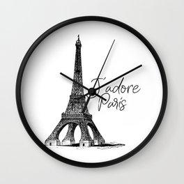 TYPOGRAPHIC ART - J'adore Paris, Paris, Typography Wall Art, Printable Art Wall Clock