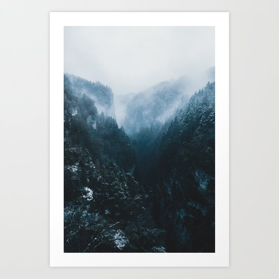 Foggy Forest Mountain Valley - Landscape Photography Art Print