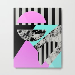 Abstract Geometric Semi Circles In Block Pink, Balck And White And Stripes Metal Print