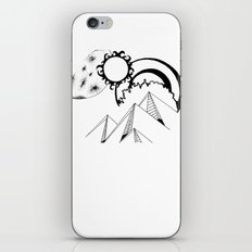 Wanderlust pen and ink drawing Mountains, Moon, Sun, Ocean Waves iPhone & iPod Skin